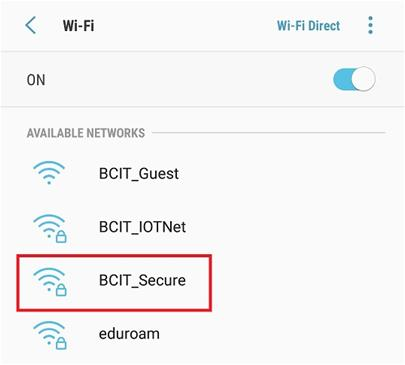 Screen shot of BCIT_Secure available network.