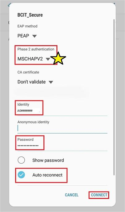 Web snippet phase 2 authentication option MSCHAPV2.