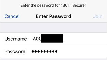 Web snippet of BCIT credentials login window for ipad, ipod and iphone.