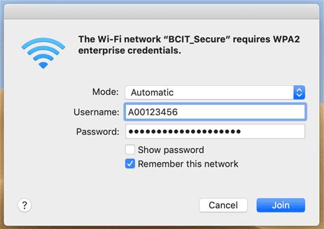 BCIT credentials login window.