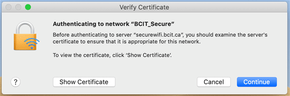 Web snippet authenticating to network bcit_secure.