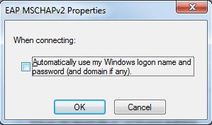 Dialog box for EAP MSCHAPv2 properties.