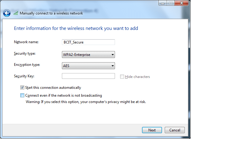 Enter information for the wireless network you want to add window.