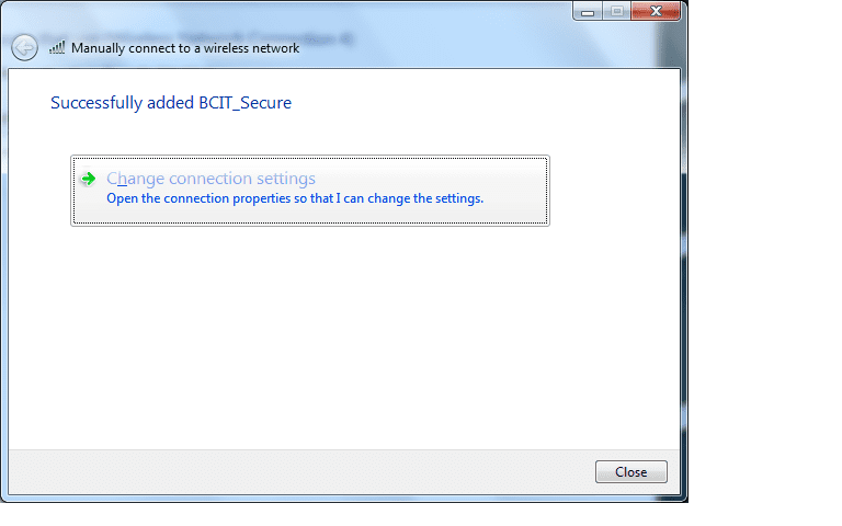 Web page snippet successfully added BCIT_secure network.