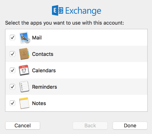 screen shot snippets of setting up Exchange