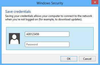 Windows 8 BCIT ID and password fields.