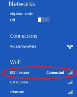 Windows 8 BCIT_secure connected network.