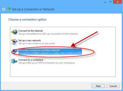 Connection option - manually connect to a wireless network.