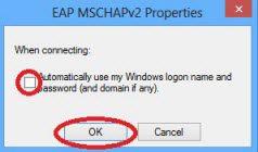 Windows 8 eduroam automatically use my windows logon name and password check box.