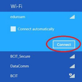 Web page snippet windows 8 eduroam network and connect button.
