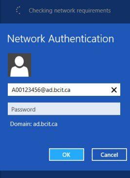 Windows 8 eduroam network authentication bcit id and password fields.