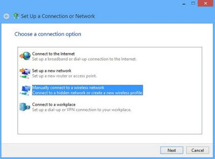 Windows 8 manually connect to a wireless network screen.