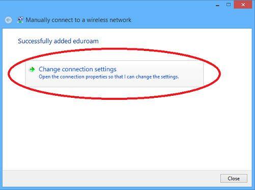 Web page snippet eduroam windows 8 change connection settings.