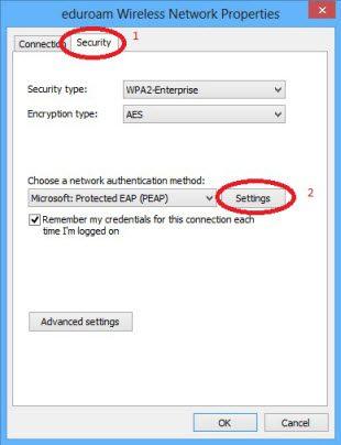 Windows 8 eduroam wireless network properties security and settings tabs.