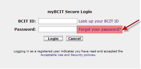 myBCIT secure login forgot your passsword window.