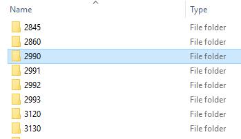 ShareIn folder showing course number 2990.