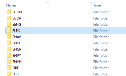 ShareIn folder showing course name elex.