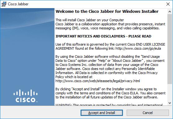 Screen shot for Cisco Jabber install for Windows