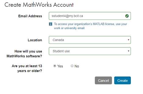 Create mathworks account window.