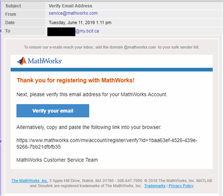 Example of verify email from service at mathworks.com.