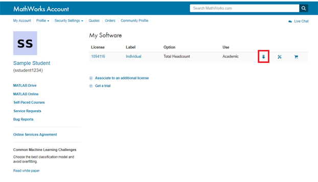 Mathworks account select download.