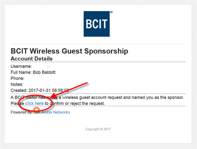 Web page snippet - BCIT wireless guest sponsorship.