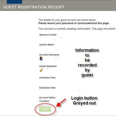 Web page snippet - Guest registration receipt.