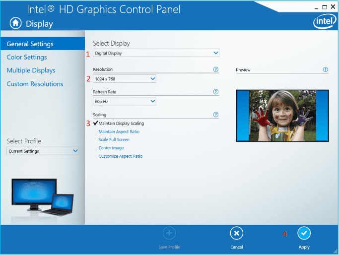 Image of general settings in the Intel HD Graphics Control Panel screen.