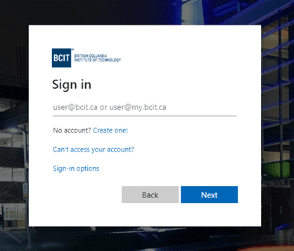 Screen shot of myBCIT sign in username page.