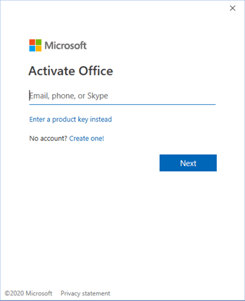Screen shot of microsoft activate office screen.