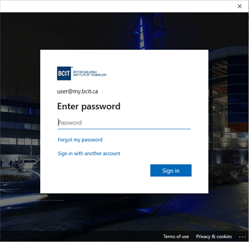 Screen shot of myBCIT sign in password page.
