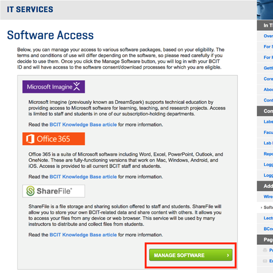 IT Services software access manage software button.