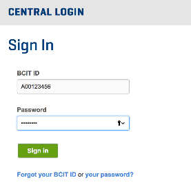 Central log in with bcit id and password window.