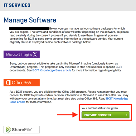 IT services manage software provide consent button.