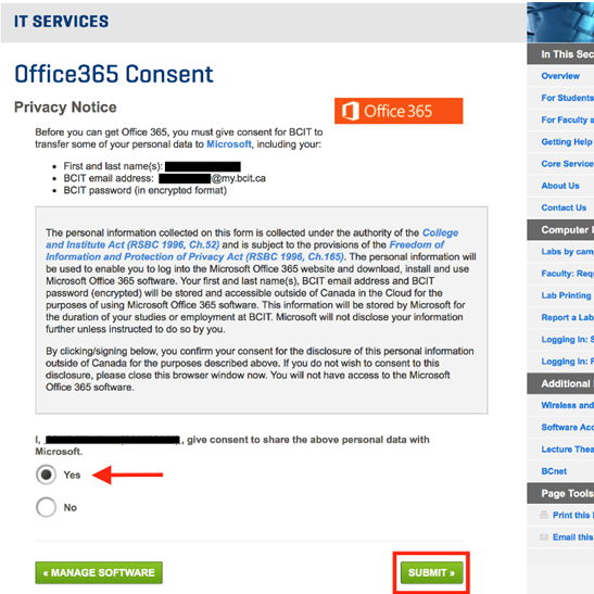 Office 365 consent privacy notice submit button.