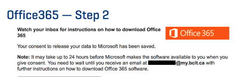 Office 365 step 2 consent to release your data window.