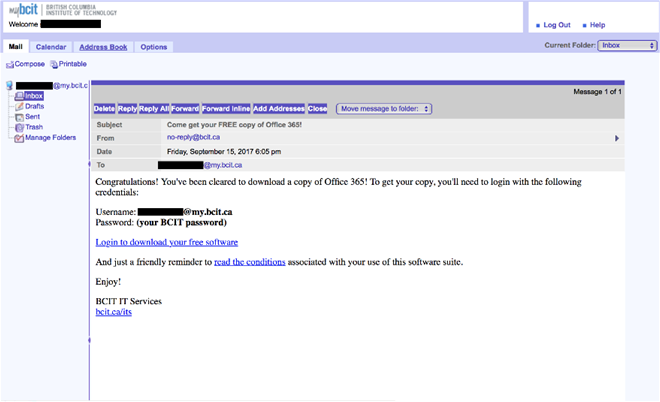 IT services email to log in and download office 365.