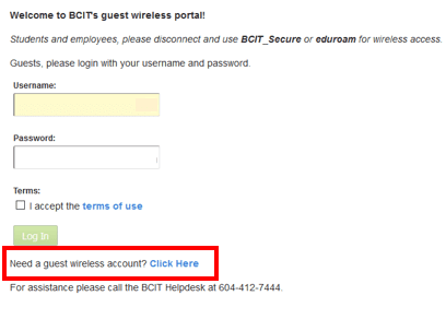 Web page snippet need a guest wireless account.