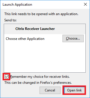 Citrix receiver launcher open link button.