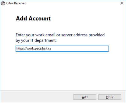 Citrix receiver add account field.