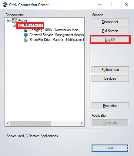 Citrix connection enter log off button.