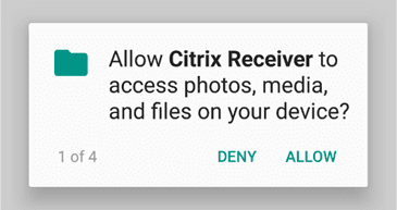 Android device allow citrix receiver to access device button.