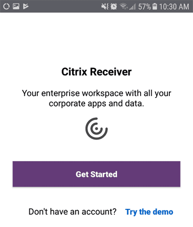 Android device citrix receiver get started button.