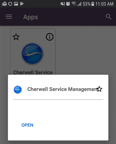 Android device cherwell service management open icon.