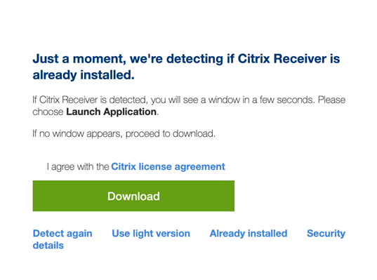 Mac device citrix receiver install screen select download button.