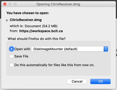 Firefox on mac-os open with disk image mounter button.