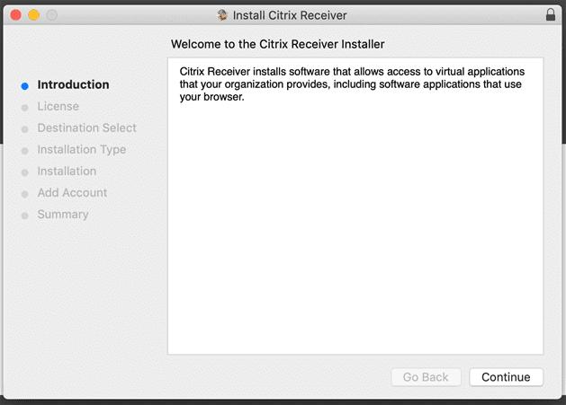 macOS welcome to citrix receiver installer window.