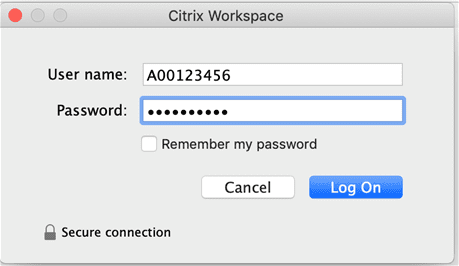macOS citrix workspace add bcit credentials in username and password fields.
