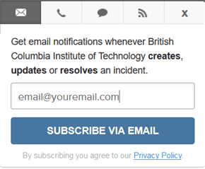 Subcribe via email button with window to include email address icon.