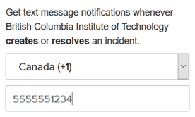 Text message field to enter phone number.